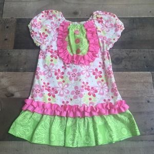 Lolly Wolly Doodle Girls Pink Green Ribbon Dress 2